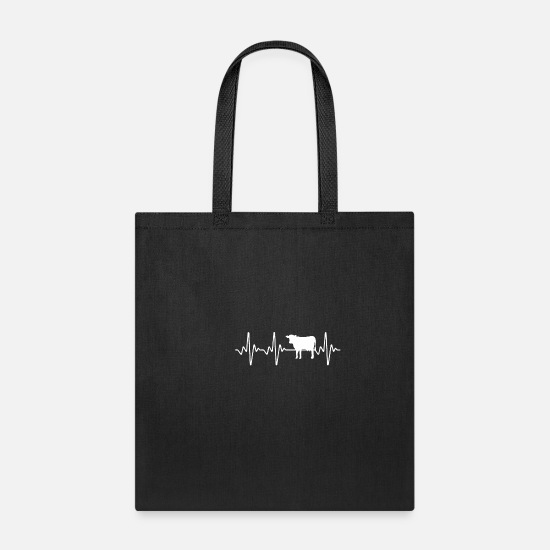 Cow Bags & Backpacks - Cow Heartbeat - Tote Bag black