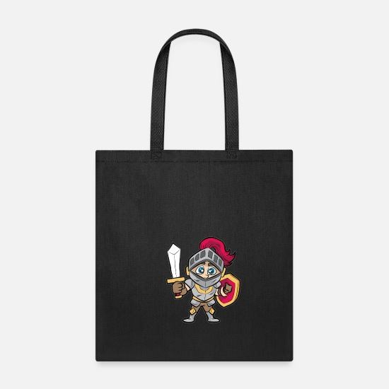 Shield Bags & Backpacks - Cartoon KNIGHT Sword and Shield Medieval Age Gift - Tote Bag black
