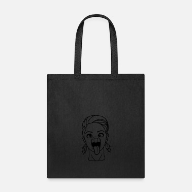 Squint grimace crazy girl squint female woman girl sexy c - Tote Bag