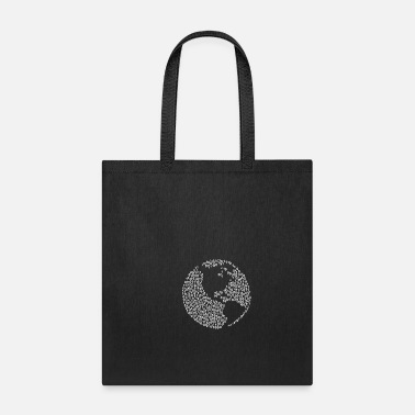 Brilliant Binäre Wortwolke in glb am map Form (white) - Tote Bag
