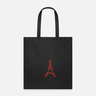 Ornamental Sweet hearty wordcloud of a Eiffel Tower form (red - Tote Bag
