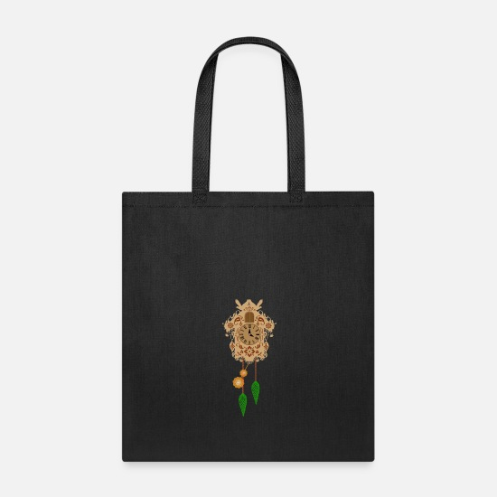 Gift Idea Bags & Backpacks - decorative brown cuckoo clock - Tote Bag black