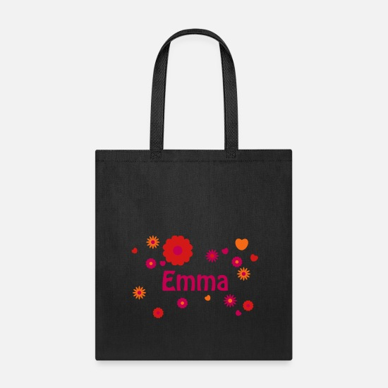 Emma Bags & backpacks - EMMA flower power name with hearts hippie - Tote Bag black