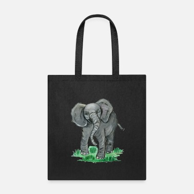 Pachyderm young elephant with a long pachyderm trunk - Tote Bag