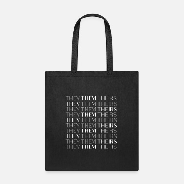 They/Them/Theirs White Text Nonbinary Tee - Tote Bag