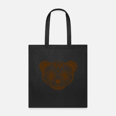 Panda A panda bear head in the style of Sugar Skulls - Tote Bag