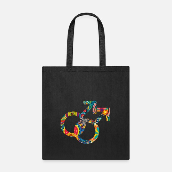 Couples Bags & Backpacks - Colourful gay and lesbian symbols 04 - Tote Bag black