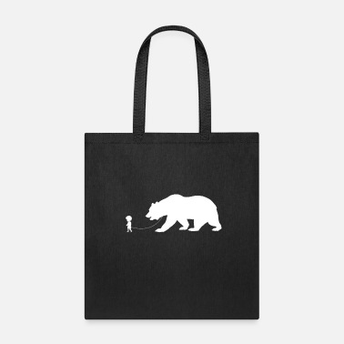Teddy Bear Boy Walking A Pet Bear Nature Animal Lover Bear - Tote Bag