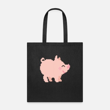 Cow Pixel Pig Pastoral Farmer Farming Farm Gamer - Tote Bag