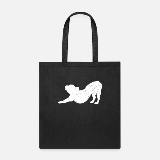 Bulldog Bags & Backpacks - French Bulldog Yoga Frenchie Dog Owner Lover Gift - Tote Bag black