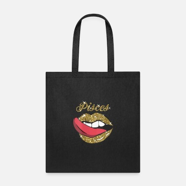 Pisces Girl y Golden Lips Tongue February March Bi - Tote Bag