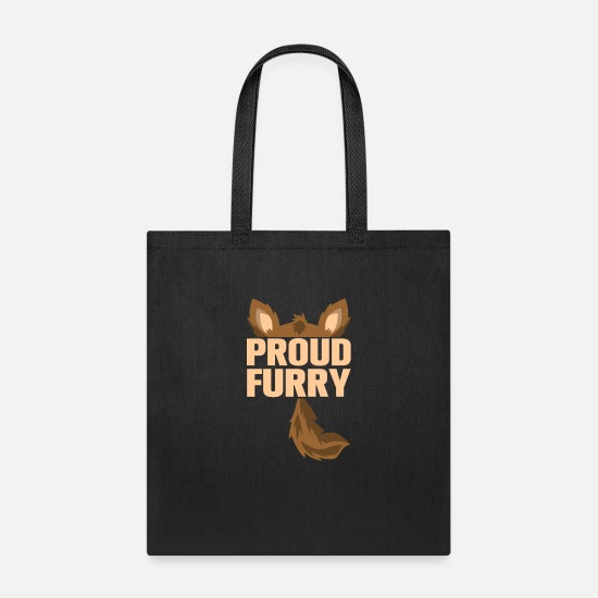 Furry Bags & Backpacks - furry tshirt - Tote Bag black