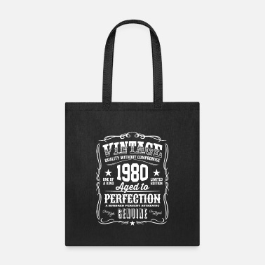 Whiskey Vintage 1980 Aged to Perfection White Print - Tote Bag