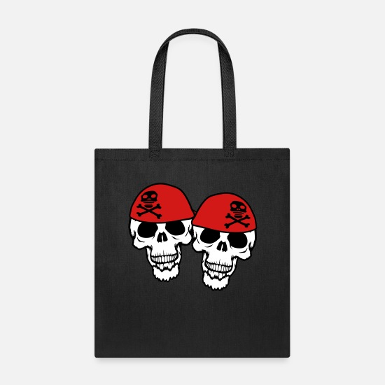 Friends Bags & Backpacks - team couple 2 friends duo captain sailor pirate pi - Tote Bag black