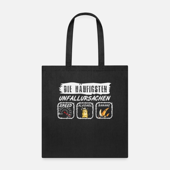 Plumbers Bags & Backpacks - car accident causes Mario bananas alcohol speed - Tote Bag black