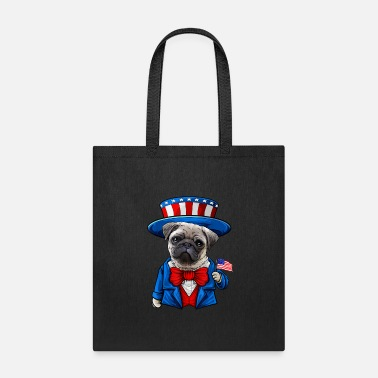 Funny Pug 4th of July American Dog Gifts T Shirt - Tote Bag