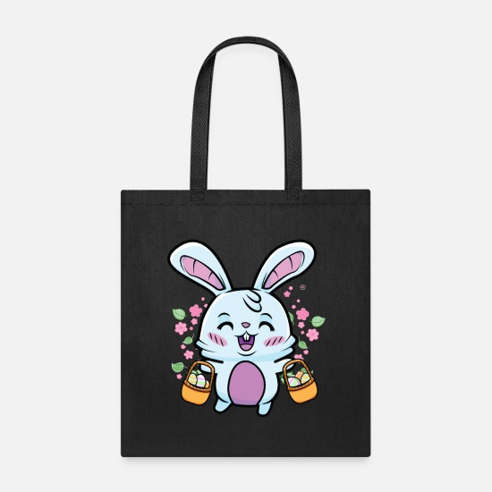 Basket Bags & Backpacks - Cute Easter Bunny Egg Hunt Colorful Eggs Hunting - Tote Bag black