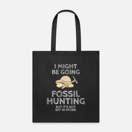 Paleontology Bags & Backpacks - Fossil Hunting Set In Stone Pun Paleontology - Tote Bag black