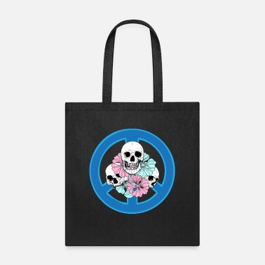 Peace Sign Skulls And Flowers Peace Sign Hippie Tattoo - Tote Bag