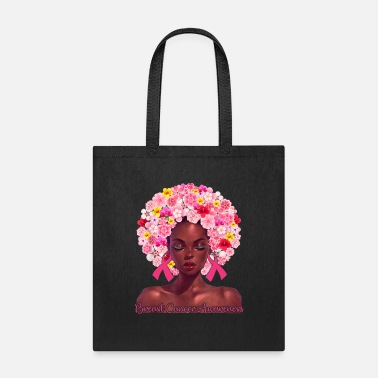 Pink Flowers Afro Hair Black Woman Breast Cancer - Tote Bag