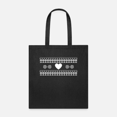 Boy White Heart and Snow Flakes - Tote Bag