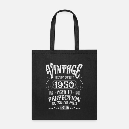 Birthday Bags & Backpacks - Birthday Present Vintage Age 1950 - Tote Bag black