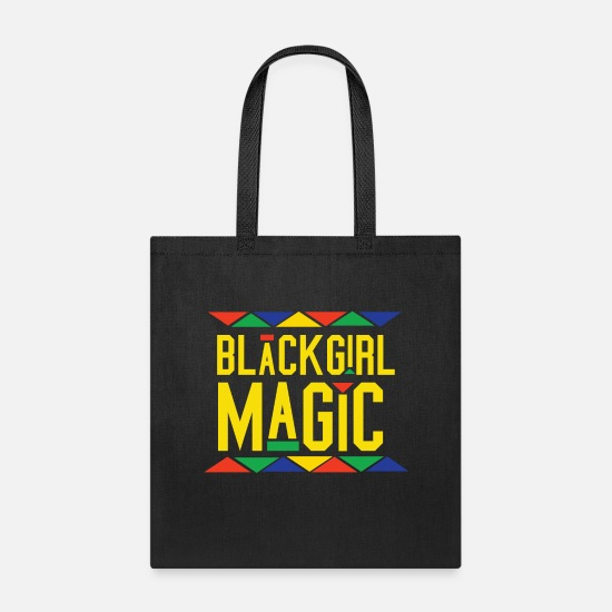 African American Bags & Backpacks - Black Girl Magic - Tribal Design (Yellow Letters) - Tote Bag black