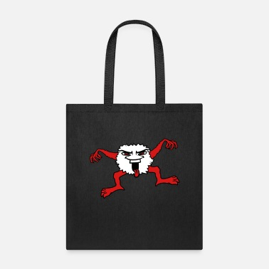 Stick Out little hairy monster face evil funny eyes mouth to - Tote Bag