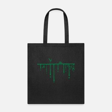 Grass drop graffiti long bamboo plant silhouette many st - Tote Bag
