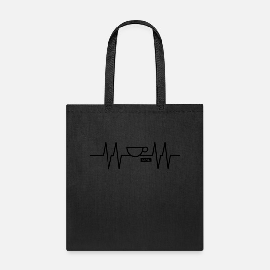 Sayings Bags & Backpacks - EKG Design Coffee HARIZ coffee cup gift - Tote Bag black