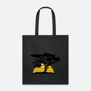 Astrology sun stripes africa silhouette tree bough head over - Tote Bag