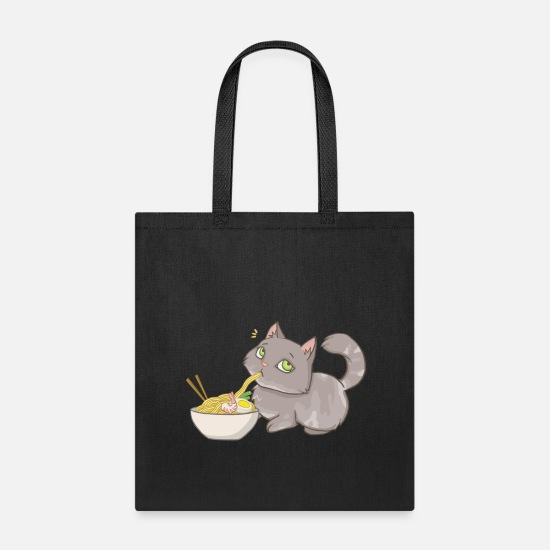 Noodles Bags & Backpacks - Cat snatches ramen - noodle love - Tote Bag black