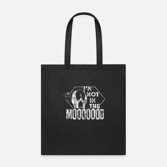 Typography Bags & Backpacks - Cow Saying - Tote Bag black