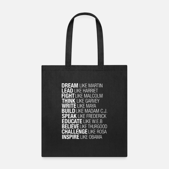 Like Bags & Backpacks - Dream Lead Fight Think Write Build Speak Educate - Tote Bag black