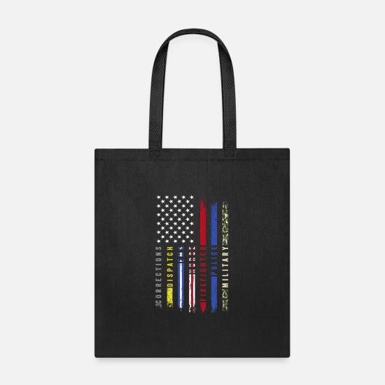 Nurse Bags & Backpacks - First Responders Hero Flag USA Thin Line Salute - Tote Bag black