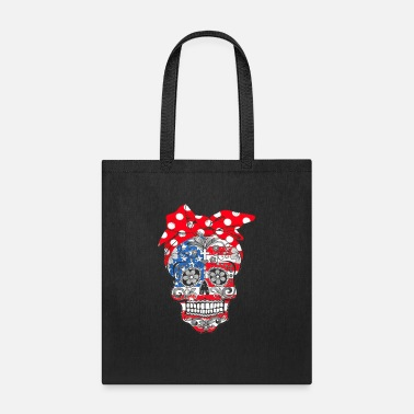 Sugar Sugar Skull American flag wear red bandana bow rib - Tote Bag