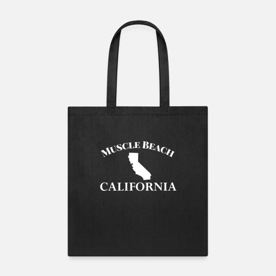 California Bags & Backpacks - Muscle Beach California Shirt Lifting Fitness City - Tote Bag black