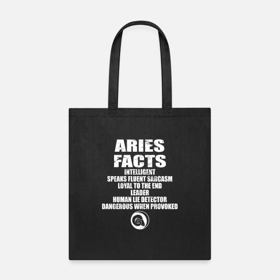 Signs Bags & Backpacks - Zodiac Aries Facts dangerous, human, loyal sarcasm - Tote Bag black