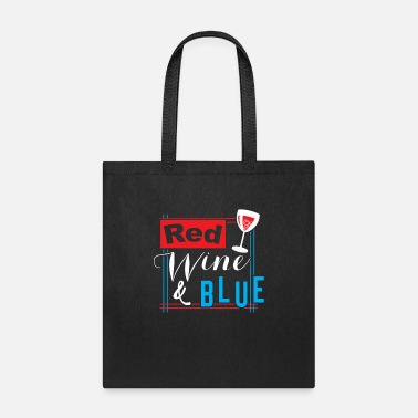 Drinking 4th July Red Wine (white) Blue - Funny USA Flag - Tote Bag