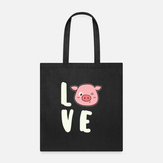 Pig Bags & Backpacks - Funny Pig Love Pig Animal Love Gift Animal - Tote Bag black