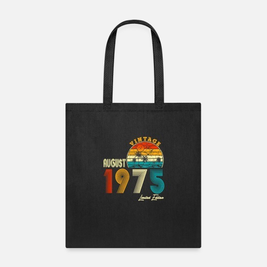 August Bags & Backpacks - Retro Classic Vintage August 1975, 44th Birthday G - Tote Bag black