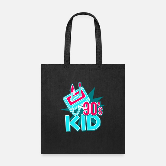 90s Bags & Backpacks - 90's Kid Generation Retro Vintage Cassette Present - Tote Bag black