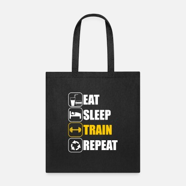Bodybuilding Eat Sleep Train Repeat Fitness - Tote Bag