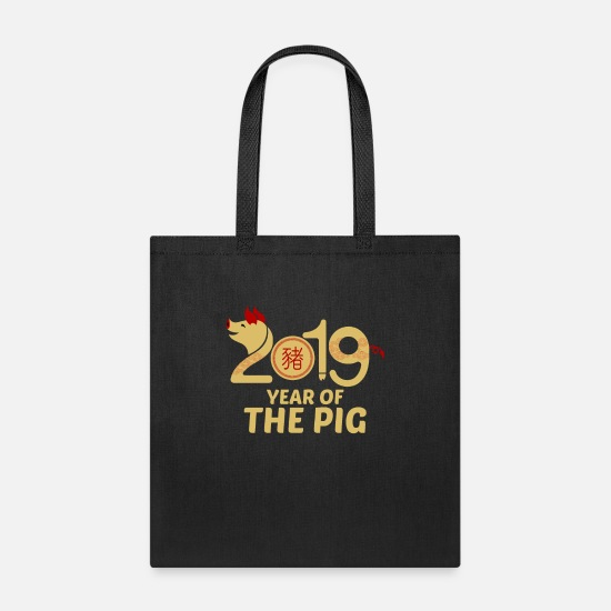 Zodiac Bags & Backpacks - Year Of The Pig 2019 Chinese New Year - Tote Bag black
