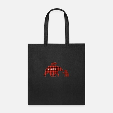 Two Red plaid two cubs mama Bear Buffalo - Tote Bag