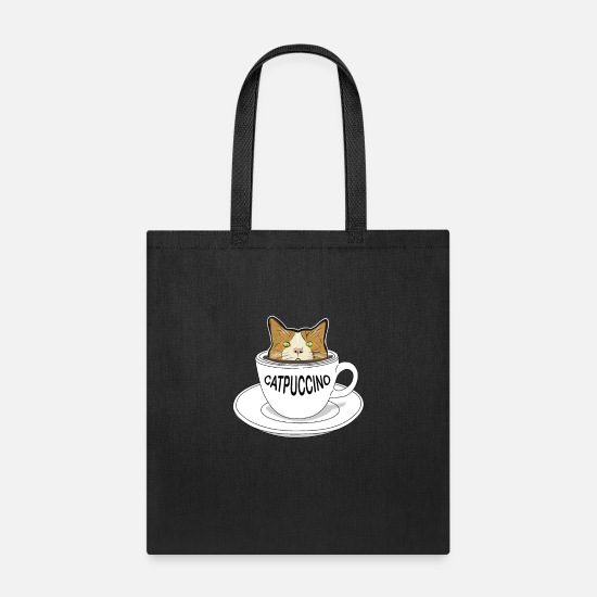 Funny Animals Bags & Backpacks - catpuccino - Cappuccino Funny Cat - Tote Bag black