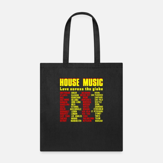 Music Bags & Backpacks - HOUSE MUSIC LOVE ACROSS THE GLOBE - Tote Bag black