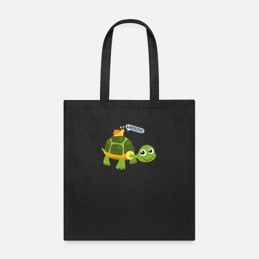Snail Riding Turtle Adorable Snail Riding Turtle Yelling Whee Cute - Tote Bag