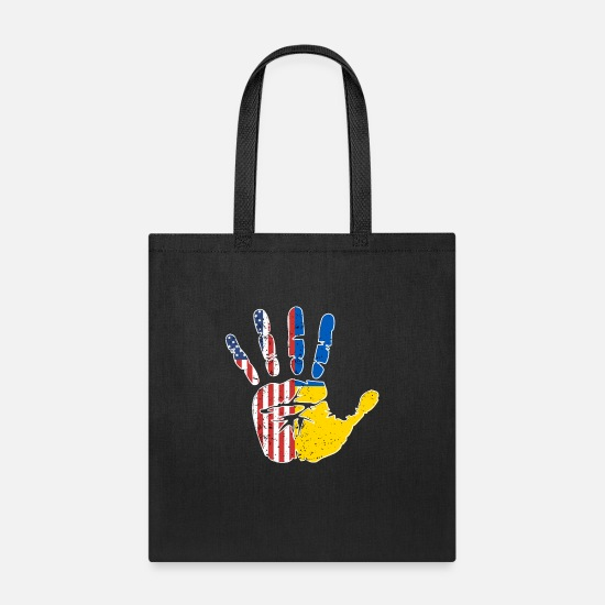 Flag Bags & Backpacks - USA Ukraine Handprint & Flag | Proud Ukrainian - Tote Bag black