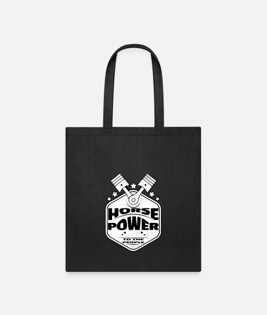 Motor Bags & Backpacks - Horsepower To The People - Pistons - Racing Design - Tote Bag black